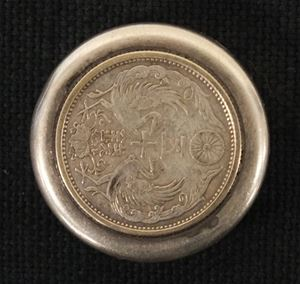 Picture of Japanese sterling 950 silver pill box with coin