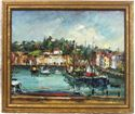 "Picture of ""Harbor Scene"" impressionist oil, signed Ivanovic"